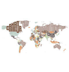 World map made typographic country names vector