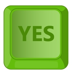 Yes green button icon cartoon style vector