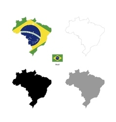 Brazil country black silhouette and with flag on vector image vector image
