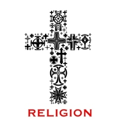Cross with christian and celt religious symbols vector image
