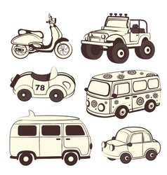 Retro cars icons set vector image vector image