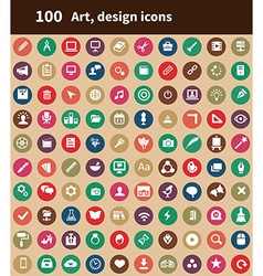 100 art design icons vector image vector image