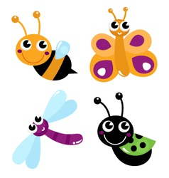 Cute little cartoon bugs isolated on white vector image vector image