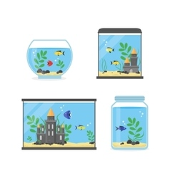 Glass Aquarium Set for Interior Home vector image vector image