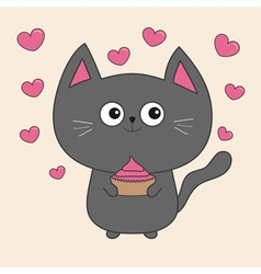 Gray contour cat holding pink cupcacke Flying vector image vector image