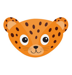 Jaguar leopard head wild cat smiling face orange vector