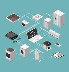 smart house and electrical control isometric vector image