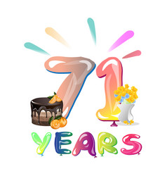 71 years anniversary greeting card vector image