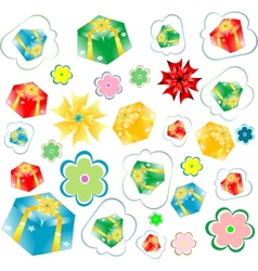 background of gift boxes with different vector image vector image
