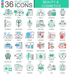 Beauty cosmetics flat line outline icons vector image