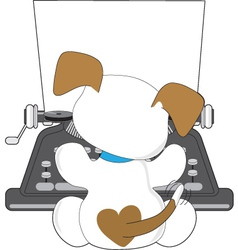 cute puppy typewriter vector image vector image