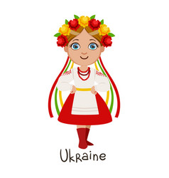 girl in ukraine country national clothes wearing vector image vector image