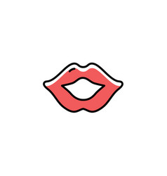 lips icon thin line art design flat vector image vector image