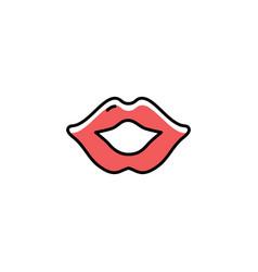 lips icon thin line art design flat vector image