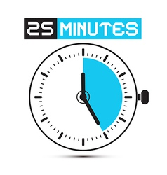 Twenty Five Minutes Stop Watch - Clock vector image vector image