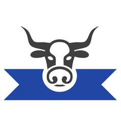 cow award ribbons flat icon vector image vector image