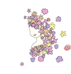 flowers girl vector image vector image