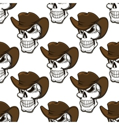 Skull in a stetson seamless pattern vector image