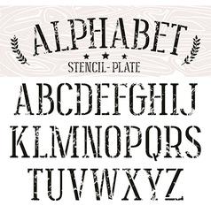 Stencil plate serif font vector image vector image