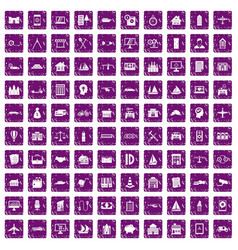 100 private property icons set grunge purple vector image