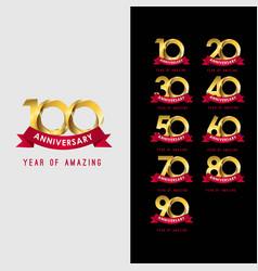 100 year anniversary set year amazing template vector
