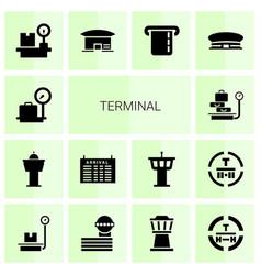 14 terminal icons vector