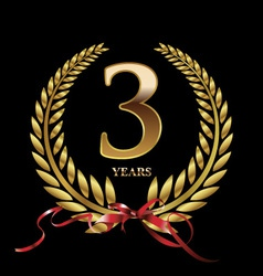 3 years anniversary laurel wreath vector