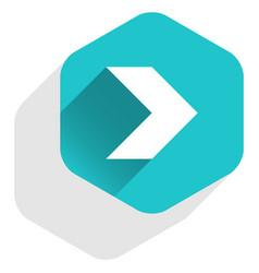 arrow sign hexagon icon flat long shadow style vector image