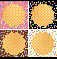 Background collection wafer and cream vector