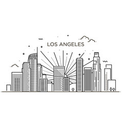 banner los angeles city in flat line trendy vector image