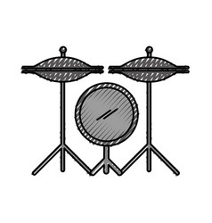 battery drums instrument icon vector image
