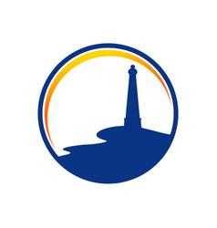 bay side lighthouse blue circle symbol design vector image