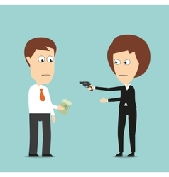 Business woman extorts money with a gun vector image