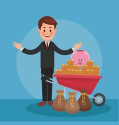 businessman and money cartoons vector image