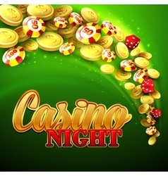 Casino background with chips craps and money vector