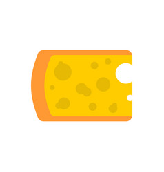 Cheese piece isolated yellow dairy product on vector