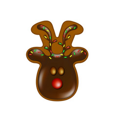 christmas gingerbread reindeer with chocolate vector image
