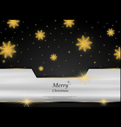 christmas golden snowflakes on black silver vector image