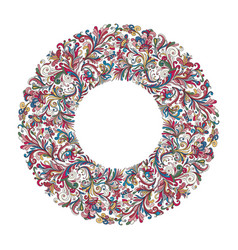 circle frame wreath design made doodle vector image