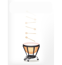 Classical Timpani with Sticks on White Background vector