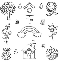 Collection of flower spring doodles vector