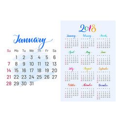 Colorful planner 2018 january separately vector