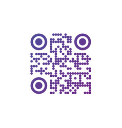 creative qr code sign round icon scan code symbol vector image