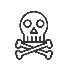 cross bones and skull death outline icon vector image