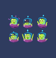 Cute alien character set funny monster with vector