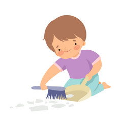 Cute boy with brush and dustpan sweeping garbage vector