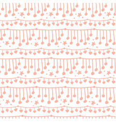 Cute doodle seamless pattern with string lights vector