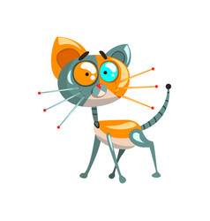 Cute funny robotic cat artificial intelligence vector