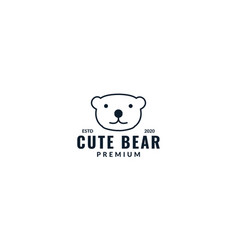 Cute head line bear kids logo design vector