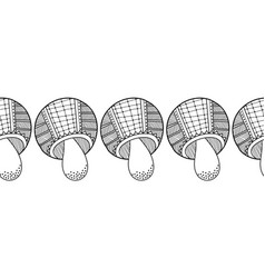 Decorative ornate mushrooms black and white vector